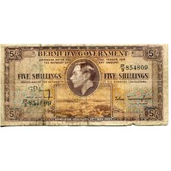 BANK NOTE (BERMUDA) *5 SHILLING* (ISSUED 1937)