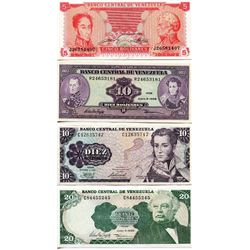 BANK NOTES (VENEZUELA) *5, TWO 10s, 20, BOLIVARES*