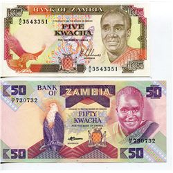 2 BANK NOTES (ZAMBIA) 5 & 50 KWACHA