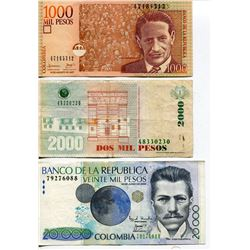 3 PESOS (COLUMBIA) *1000, 2000 & 20,000 BANK NOTES