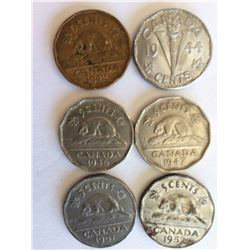 LOT OF 6 CNDN NICKELS (1942, 44, 46, 47, 51, 52)