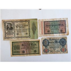 LOT OF 4 GERMAN MARKS (1914, 1922, 1923)
