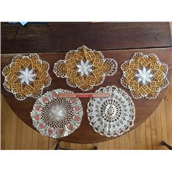 LOT OF 5 DOILIES (HAND CROCHETED)