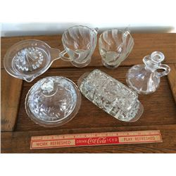 LOT OF 6 GLASSWARE (BUTTER DISH, ETC.) *NO CHIPS*