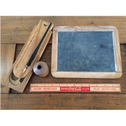 LOT OF 4 (SLATE, WOODEN PENCIL BOX, INK WELL, PEN)