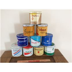 LOT OF 1O TOBACCO TINS (VOGUE, PLAYERS, EXPORT, ETC)