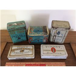 LOT OF 5 OLD TOBACCO TINS (OLD CHUM, TURRET, ETC)