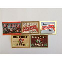 LOT OF 5 OLD BEER BOTTLE LABELS (BIG CHIEF, RED RIBBON ETC)