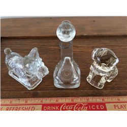 LOT OF 3 CANDY CONTAINERS (GLASS)