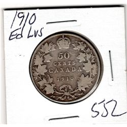 1910 CNDN 50 CENT PC *EDWARDIAN LEAVES* (SILVER)