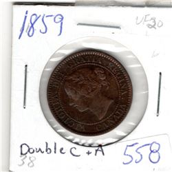 1859 CNDN LARGE 1 CENT PC *DOUBLED C AND A*