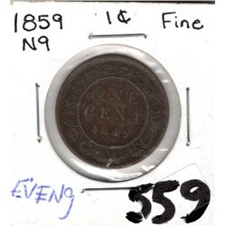 1859 CNDN LARGE 1 CENT PC *NARROW 9 EVEN DATE 9*