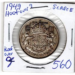 1949 CNDN 50 CENT PC *RARE HOOF OVER 9* (SILVER)