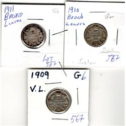 1909, 1910, 1911 CNDN 10 CENT PCS *BROAD LEAVES* (SILVER)