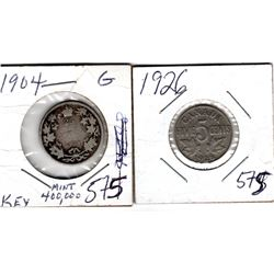 1904 CNDN 25 CENT PC (SILVER) AND 1926 5 CENT PC *SCARCE*