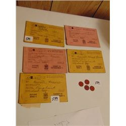5 *USED* WW 2 RATION BOOKS AND RED POINT COINS