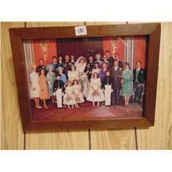 """1981 ROYAL WEDDING PHOTO *IN OLD OAK FRAME* (10"""" BY 13.5"""")"""