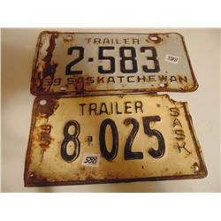 1951 & 1959 TRAILER LICENCE PLATES