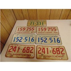 1970s LICENCE PLATE LOT 3 PAIRS 1 SINGLE