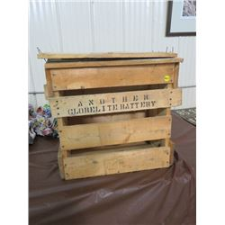 WOODEN CRATE (ANOTHER GLOBEL BATTERY) *WITH LID PIECES & EXTRA BOARD*