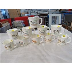LOT OF COFFEE CUPS (QTY 10) *6 DOGS, 4 BIRDS* (1 IS CRACKED)
