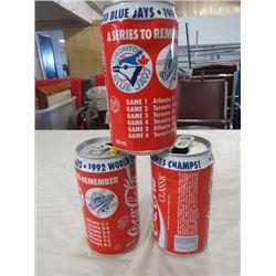 POP TINS (COCA COLA) *1992 BLUE JAYS WOLRD SERIES CHAMPIONS* (QTY 3)