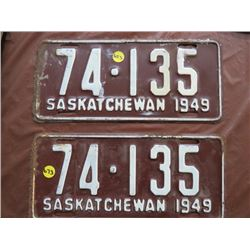 LICENSE PLATES (SASKATCHEWAN) *QTY 2* (1949 MATCHING)