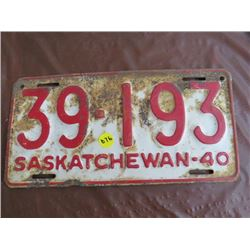 LICENSE PLATES (SASKATCHEWAN) *QTY 1* 1940