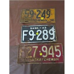 LICENSE PLATES (SASKATCHEWAN) *QTY 3* (1936, 1943 *F*, 1946 *F*)