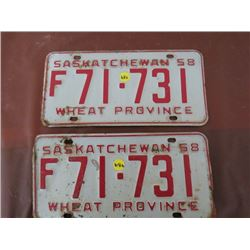 LICENSE PLATES (SASKATCHEWAN) *QTY 2* (1958 MATCHING)