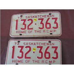 LICENSE PLATES (SASKATCHEWAN) *QTY 2* (1973 MATCHING)