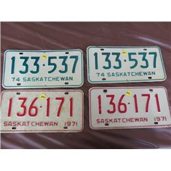 LICENSE PLATES (SASKATCHEWAN) *QTY 4* (1971 & 1974)