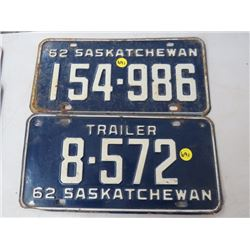 LICENSE PLATES (SASKATCHEWAN) *QTY 2* (1962 * 1 IS TRAILER)