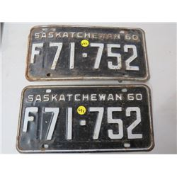 LICENSE PLATES (SASKATCHEWAN) *QTY 2* (FARM, MATCHING)