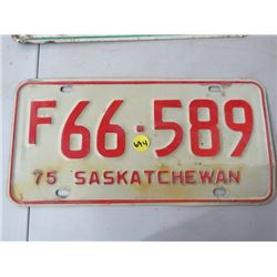 LICENSE PLATES (SASKATCHEWAN) *QTY 1* (1975 FARM)