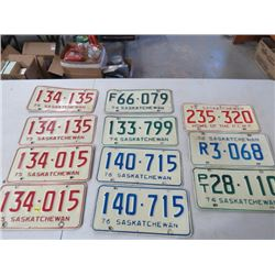 LICENSE PLATES (SASKATCHEWAN) *QTY11* (1972, 73, 74, 75, 76)