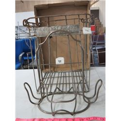 METAL EGG BASKET (LUCERNE FOODS) & WROUGHT IRON BASKET