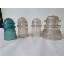 4 GLASS INSULATORS *HEMINGRAY (GREEN), 3 DOMINION*