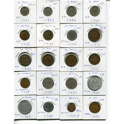 LOT OF FOREIGN COINS (PENCE, FARTHINGS, UK PENNIES, ETC.) *QUANTITY 31*