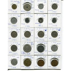 LOT OF FOREIGN COINS (CENTIMES, SHILINGS, FRANCS, ETC.) *QUANTITY 31*