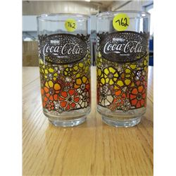 LOT OF 2 ENJOY COCA-COLA GLASSES *1970s*