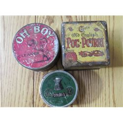 3 TINS (OH BOY CLEANER *W/FINE NAILS*, DIABLE *GERMAN TIN FOR .22 SHELLS* & OLD ENGLISH *POT POURRI*