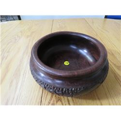 """WOODEN BOWL, (INTRICATE HAND CARVED), """"GIRAFFE"""", (9"""" AFRICAN)"""