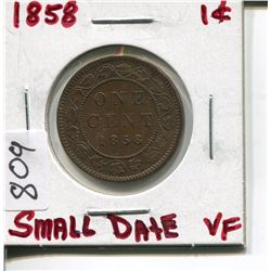 1858 CNDN LARGE 1 CENT PC (SMALL DATE)