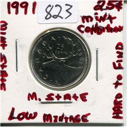 1991 CNDN 25 CENT PC *LOW MINTAGE*