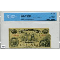 1935 BANK OF TORONTO 10 DOLLAR NOTE (CCCS CERTIFIED)