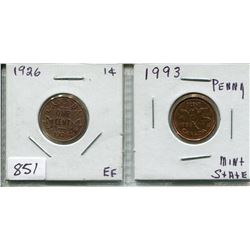 LOT OF 2 CNDN 1 CENT PCS (1926 & 1993)
