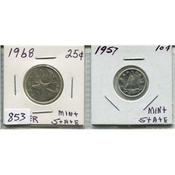 LOT OF 2 1968 CNDN 25 CENT PC & 1957 CNDN 10 CENT PC