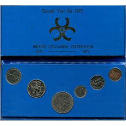 1971 CNDN (BRITISH COLUMBIA CENTENNIAL) 6 COIN SET