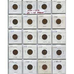 SHEET OF 20 CNDN 1 CENT PCS (1950s-1970s)